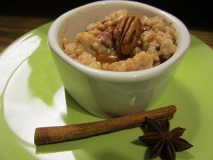 Cinnamon-Cardamom Rice Pudding with Honeyed Rosewater Sauce