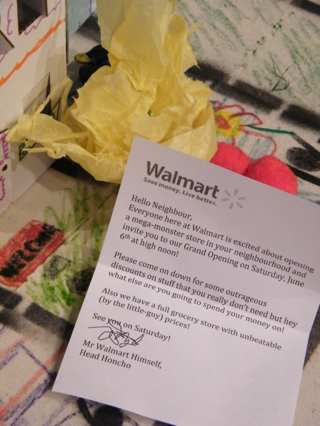 "A letter from ""Walmart"" left on a neighbourhood doorstep, ominously promising to move into the neighbourhood."