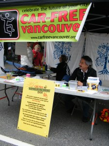 The Car Free Vancouver booth.