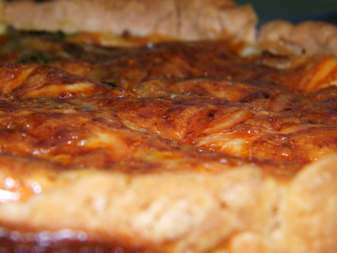 A close up of the quiche, just out of the oven.