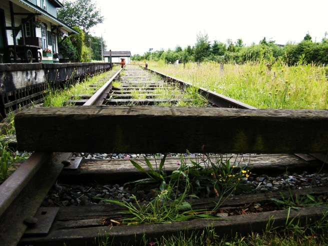 The old rail line beside the historic CN station.