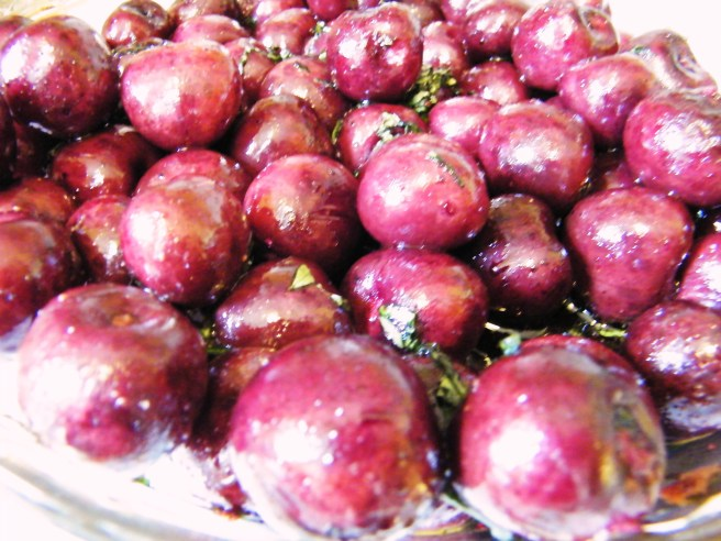 The cherries, roasted.