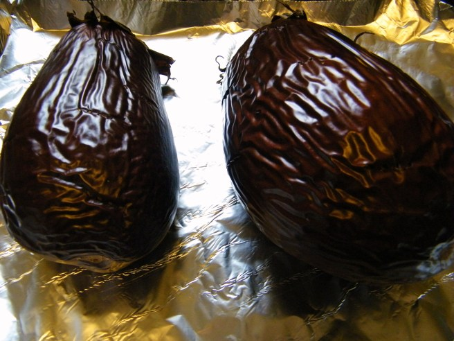 Eggplants after roasting