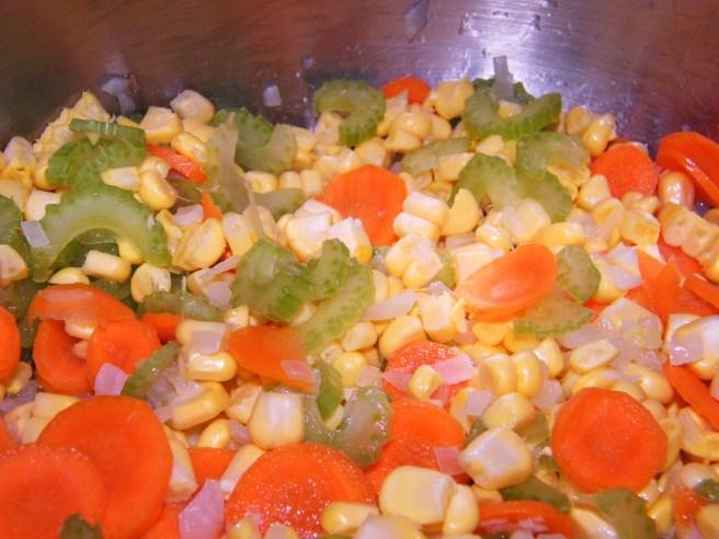 Softening the vegetables.