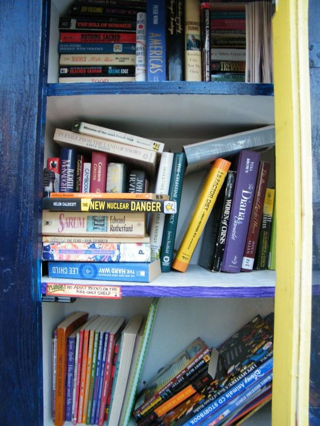 The bottom shelf is all kids' books.