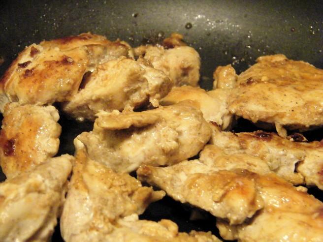 Sautéing the chicken.