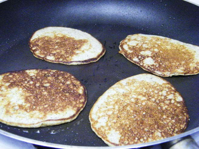 Blini in the frying pan.