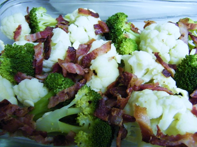 Lots of bacon, cauliflower, and broccoli.
