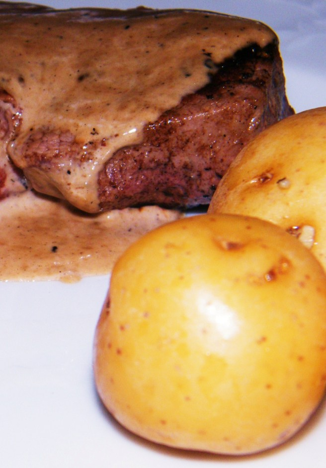 Broth braised potatoes with a great steak.