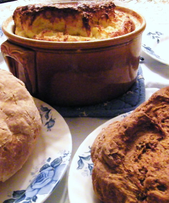 The soufflé, with a preview of Tuesdays with Dorie's Irish soda bread assignment.