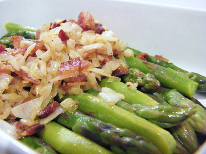 Asparagus with bits of bacon.