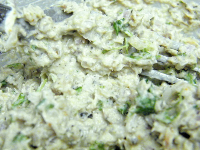 Sardines mashed into cream cheese, green onions, shallots, herbs and lime.