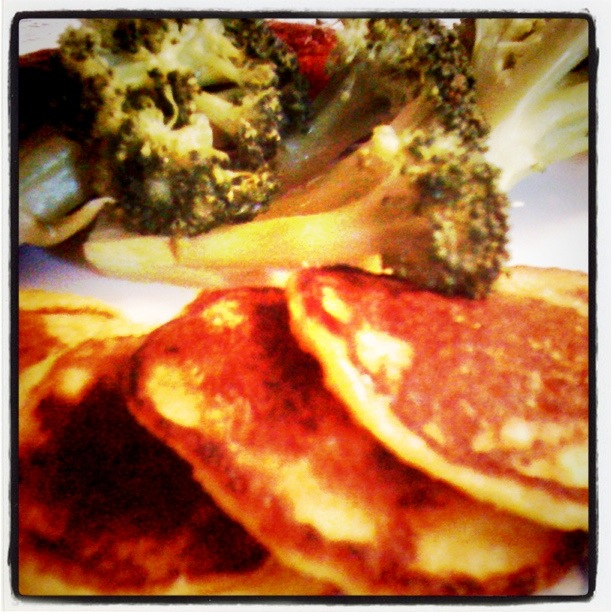 Corn Pancakes with broccoli in the background
