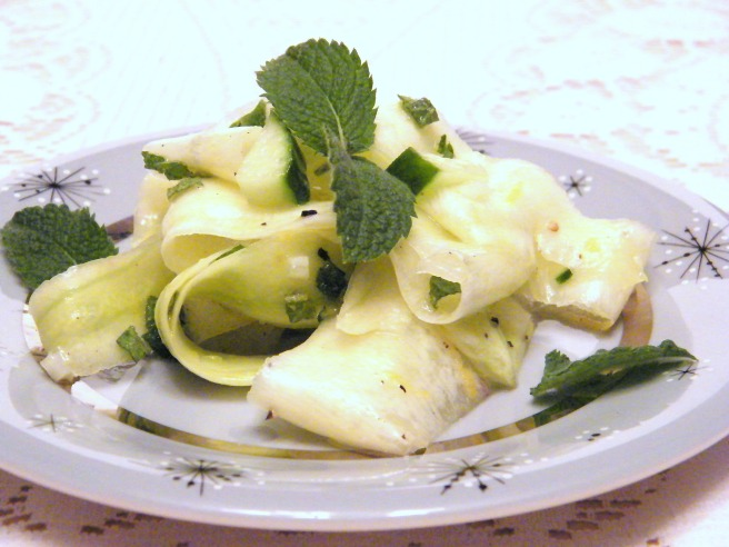 Minted Zucchini...it's a salad, a very pretty salad...