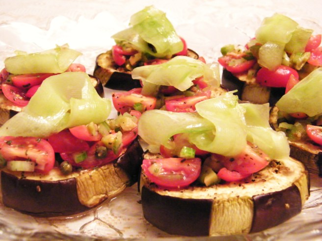 "A trayful of eggplant ""tartines"""