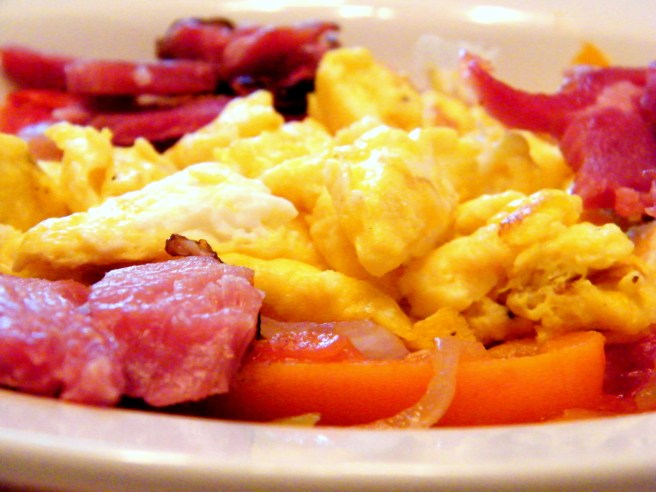 Pipérade and eggs.