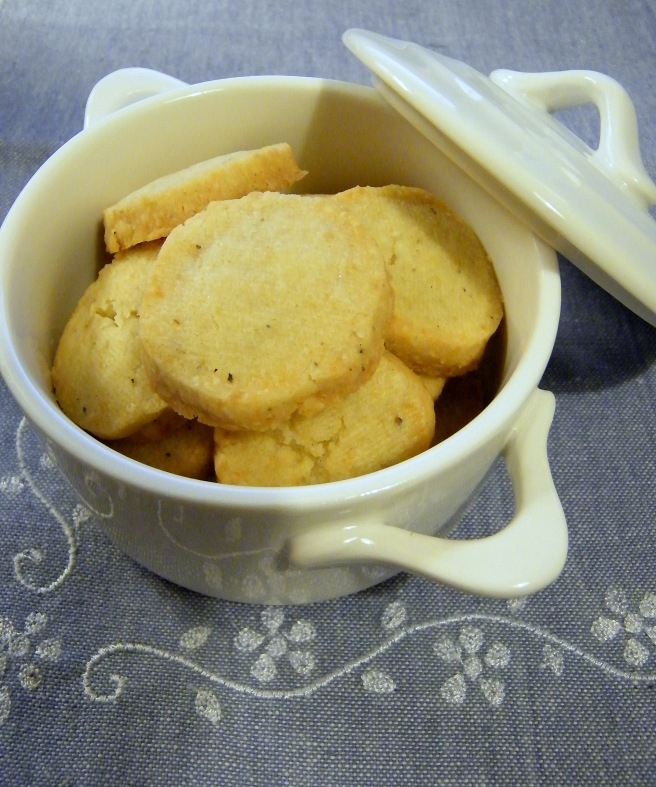 Crackers in a tiny crock