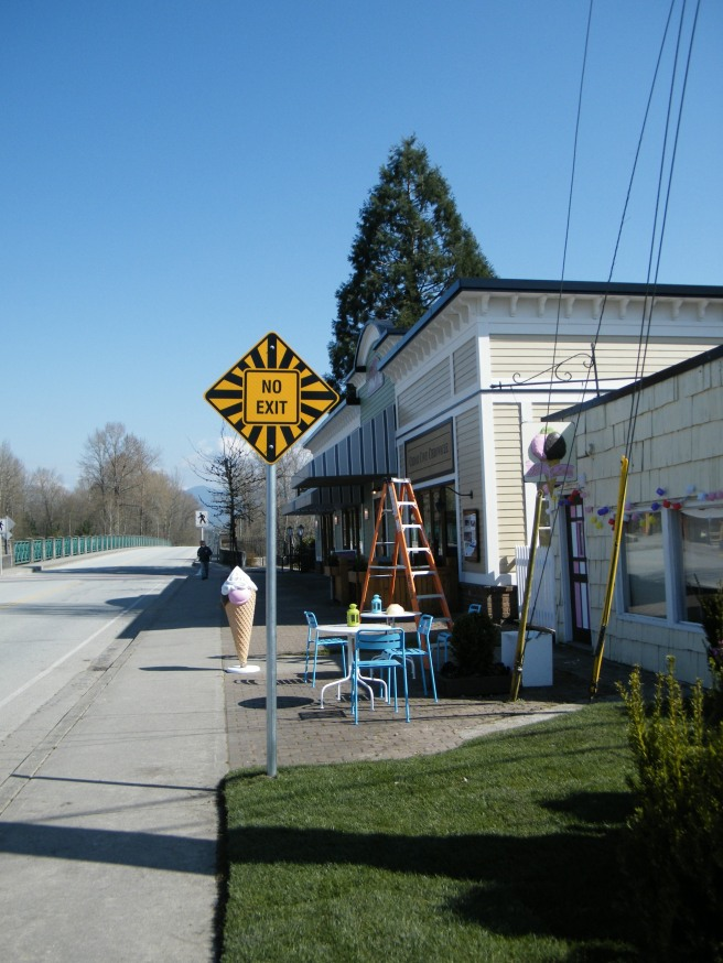 Set-building near Jacob Haldi Bridge in Fort Langley