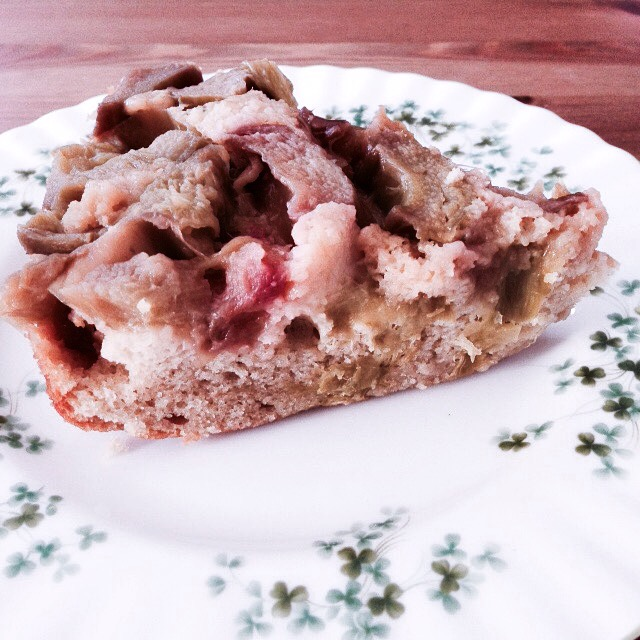 Slice of rhubarb cake