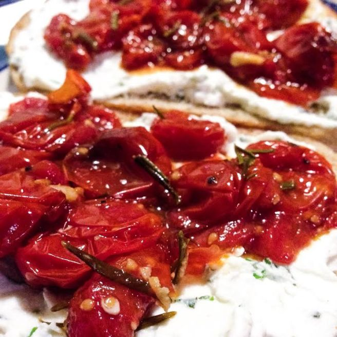 Cherry Tomato Crostini with Herbed Water Buffalo Cheese