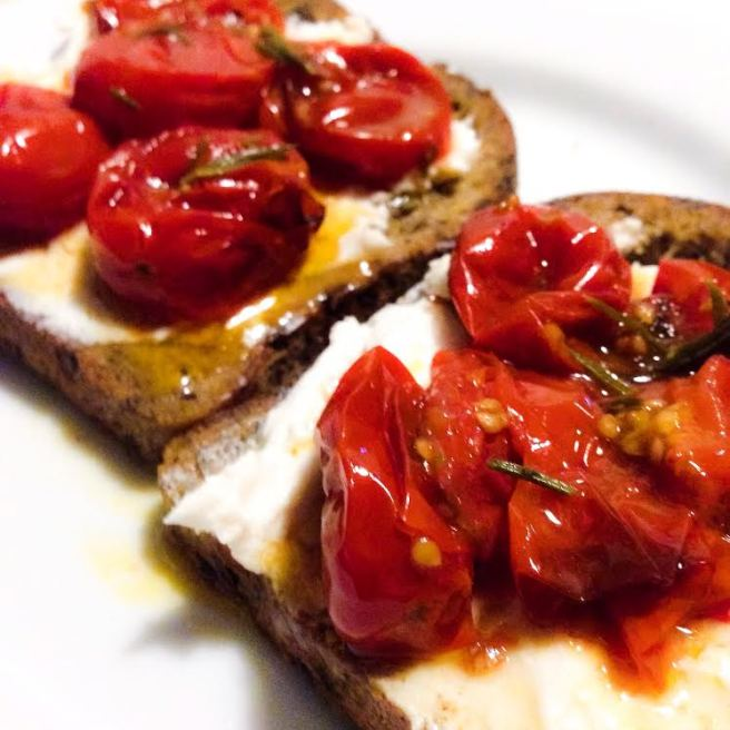 Cherry Tomato Crostini with Vegan Cream Cheese and Gluten Free Bread