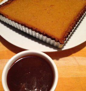 Chipotle Pumpkin Pie with Caramel Sauce