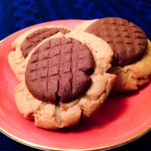 Chocolate, Peanut Butter, and Butterscotch Layered Cookies