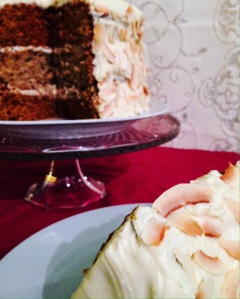 Carrot and Parsnip Layer Cake with Honey-Cream Cheese Frosting