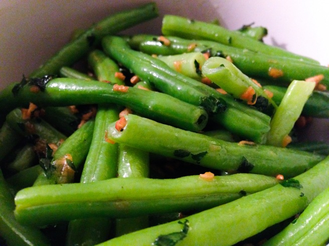 Lemony garlic butter on green beans.